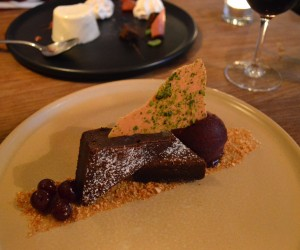 Dark and white chocolate brownie, with cherry sorbet and praline