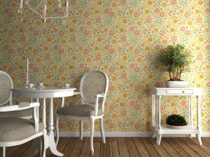 home interior with flowery wallpaper and white furniture